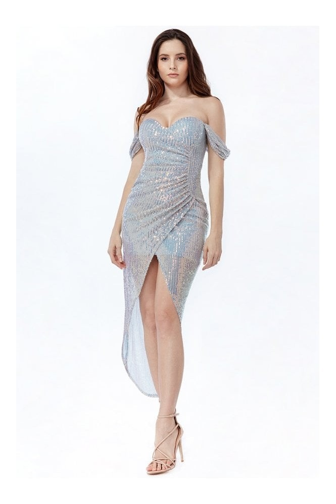 Goddiva Off The Shoulder Sequin High Low Maxi Dress - Silver