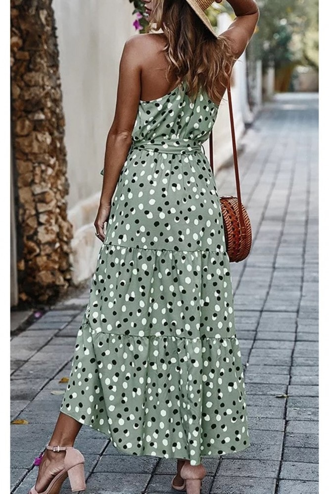 FS Collection Halterneck Tiered High Low Dress In Mint Green & Black Polka Dot