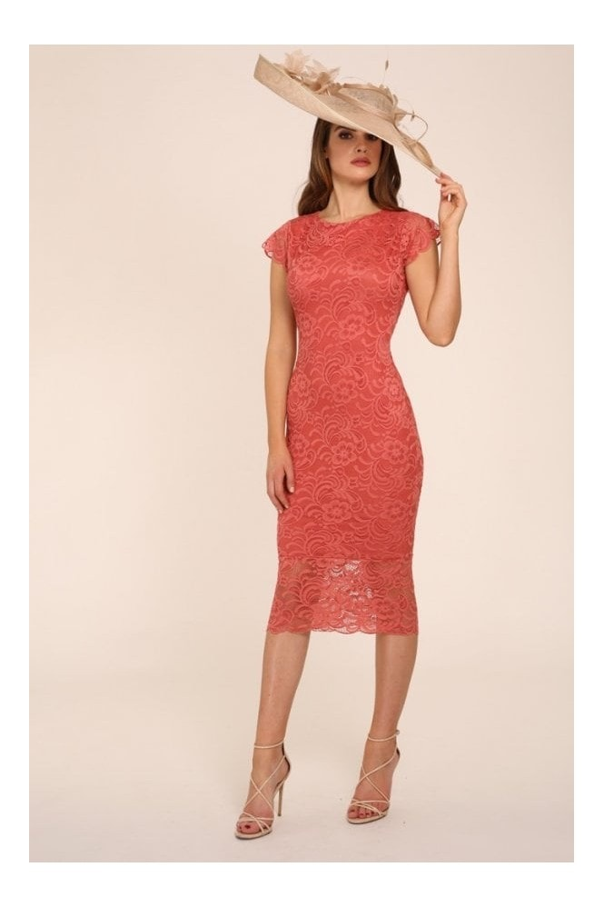 Honor Gold Faye Coral Backless Lace Midi With Cap Sleeves