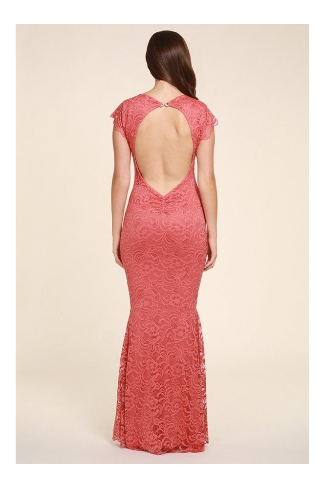 Honor Gold Faye Coral Backless Lace Fishtail Maxi With Cap Sleeves
