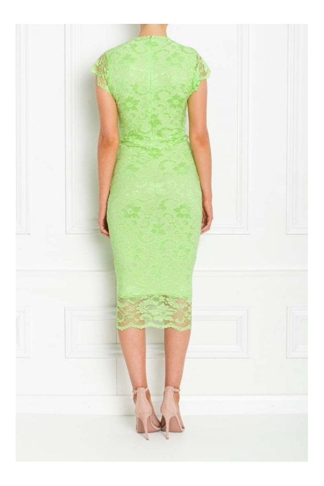 Honor Gold ADRIANNA LIME GREEN LACE MIDI