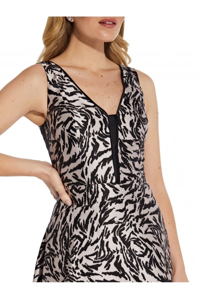 Adrianna Papell Animal Printed Mikado Gown In Black/Taupe