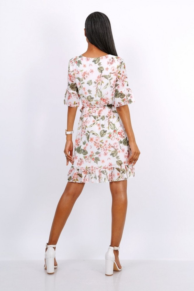 Lilura London Summer Mini Wrap Dress With Frill Hem In White Floral Print