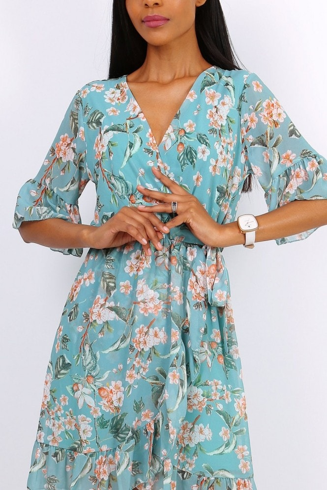 Lilura London Summer Mini Wrap Dress With Frill Hem In Mint Green Floral Print