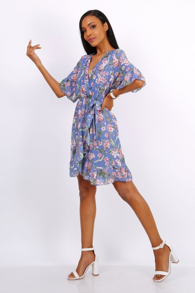 Lilura London Summer Mini Wrap Dress With Frill Hem In Blue Floral Print