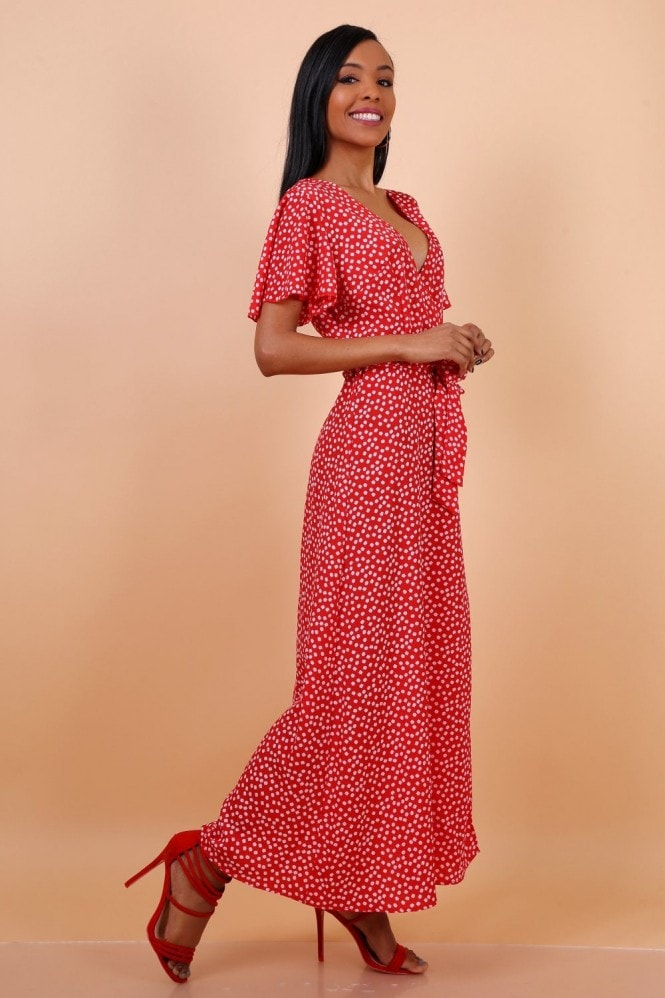 Lilura London Wrap Front Split Leg Maxi Dress In Red Daisy Dot Print
