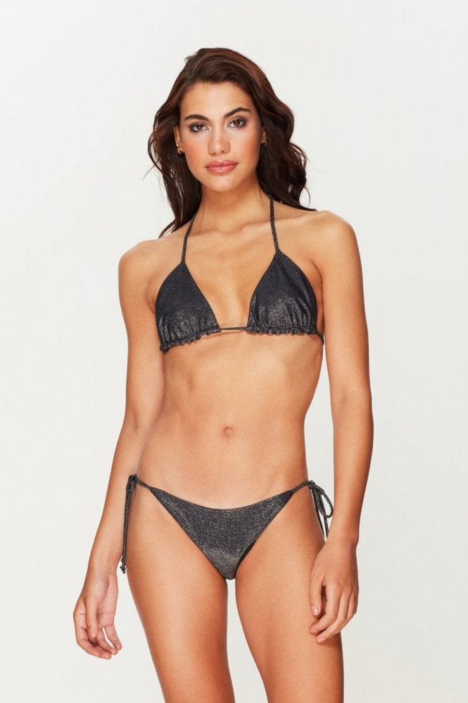 Toria Tonia Black Metallic Triangle Bikini Top