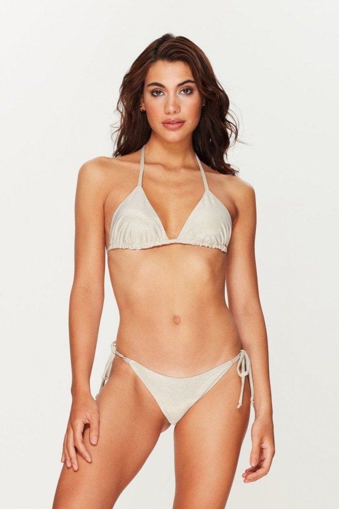Toria Tonia Coconut Shimmer Triangle Bikini Top