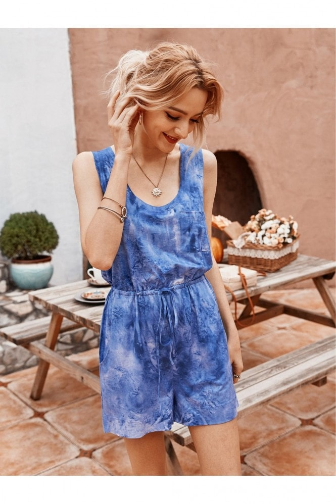 FS Collection Tie Dye Relaxed Summer Playsuit In Blue