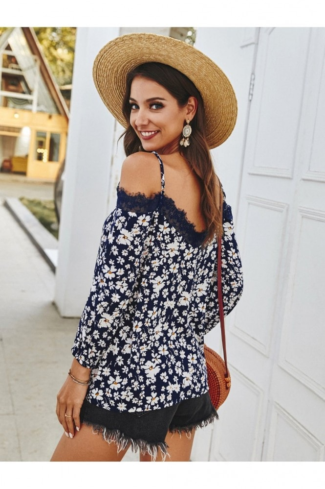 FS Collection Lace Trim Off The Shoulder Top In Navy Daisy Floral Print