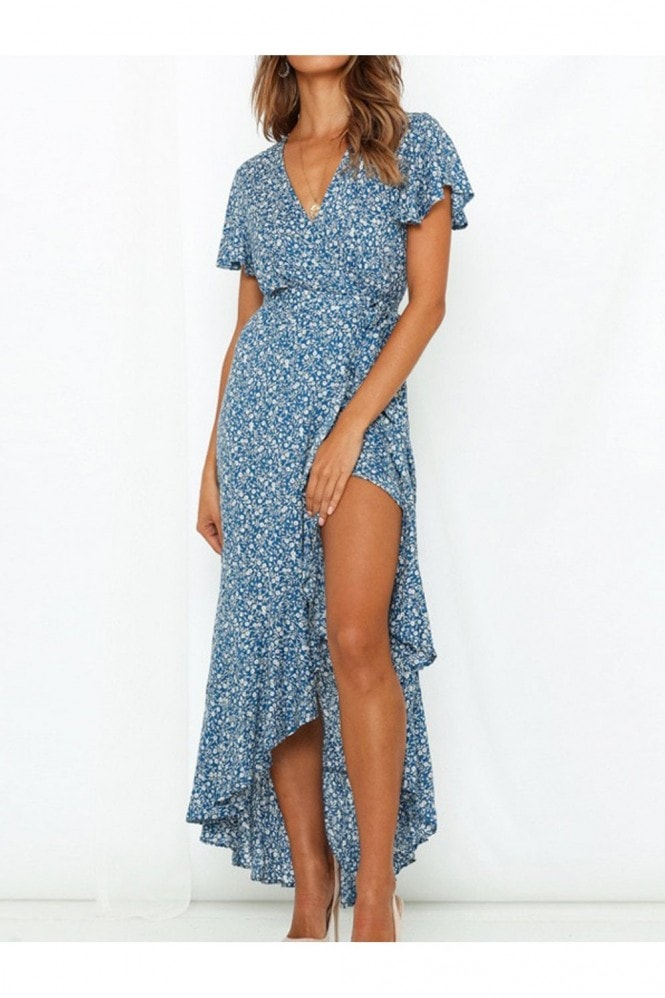 FS Collection Summer Wrap Maxi Dress In Blue Floral Print