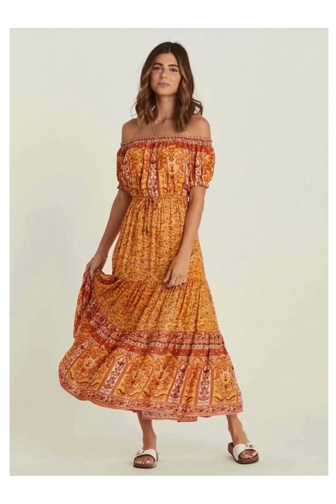 FS Collection Boho Tiered Dress In Yellow & Orange Floral Print