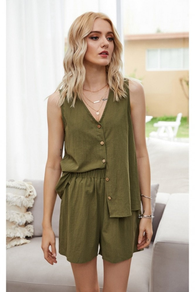 FS Collection Two Piece Co Ord Button Down Top And Shorts In Olive Green