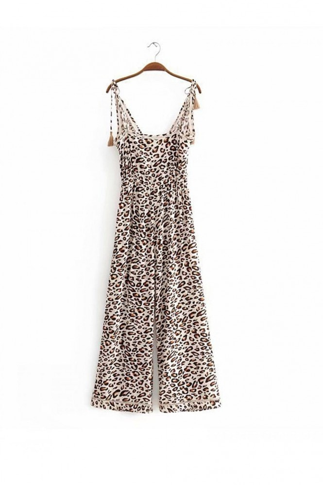 FS Collection Leopard Print Jumpsuit With Wrap Top