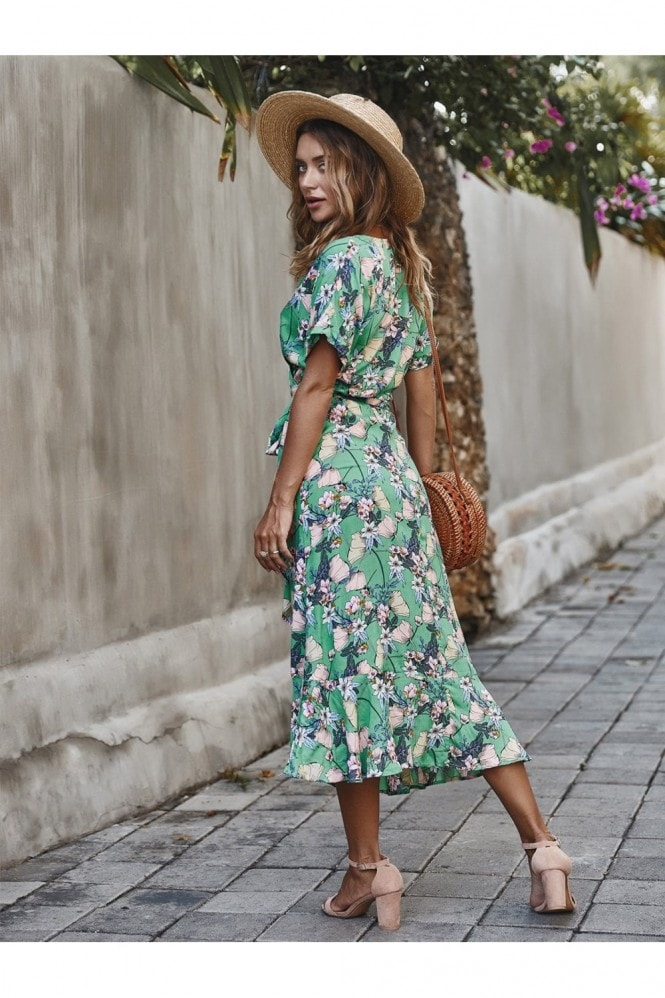 FS Collection Summer Wrap Midi Dress In Mint Floral Print