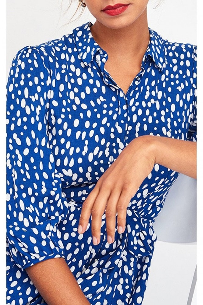 FS Collection Shirt Dress In Royal Blue & White Spot Print