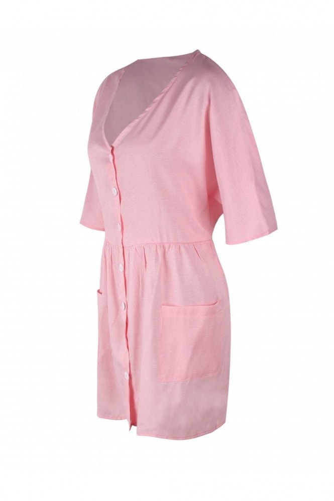 FS Collection Button Front V Neck Mini Dress Pink