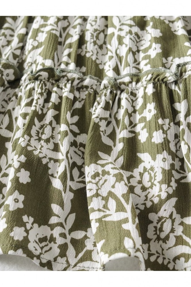 FS Collection Summer Tiered Dress In Olive Green Floral Print