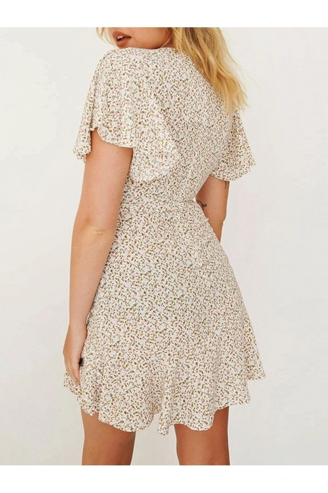 FS Collection Summer Mini Skater Dress In White & Pink Floral & Green Leaf Print