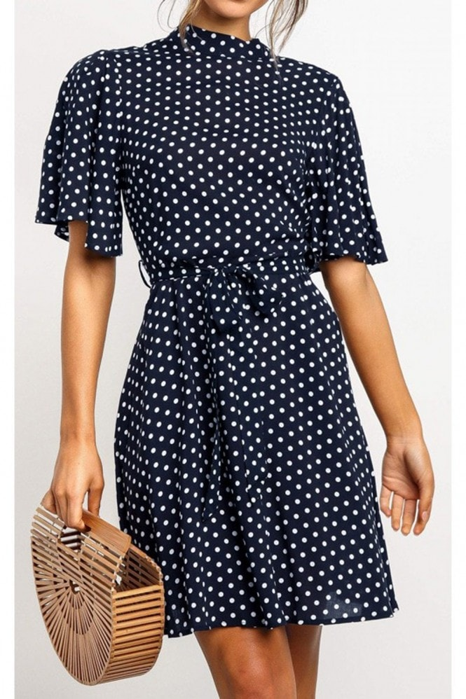 FS Collection High Neck Mini Dress With Frill Hem And Navy & White Polka Dot
