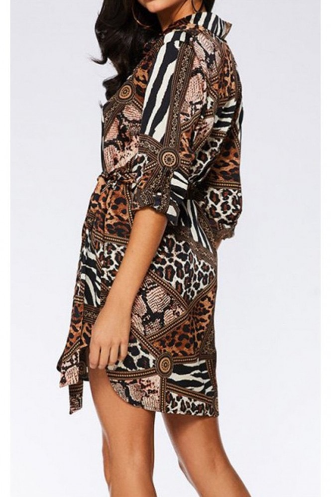 FS Collection Animal Print Shirt Dress In Brown