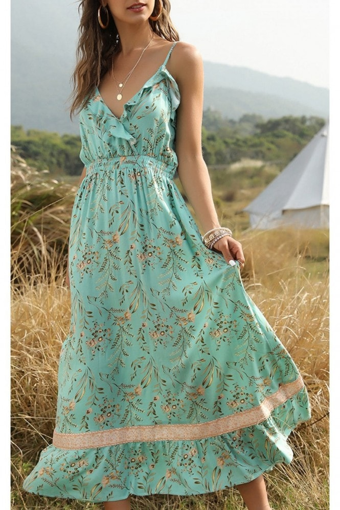 FS Collection Summer Frill Dress In Mint Green Floral Print
