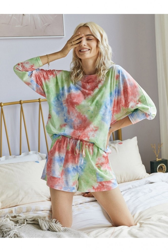 FS Collection Tie Dye Relaxed Long Sleeve Tshirt Top And Shorts Set In Red Blue Green