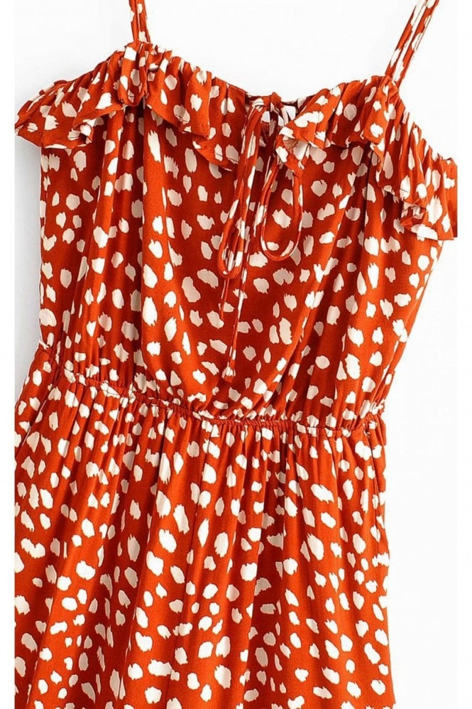 FS Collection Ruffle Detail Jumpsuit In Orange Spot Print