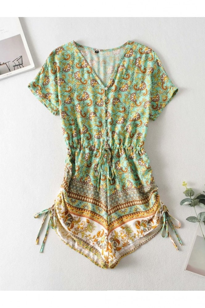 FS Collection Playsuit With Drawstring Detail In Mint and Yellow Mixed Print