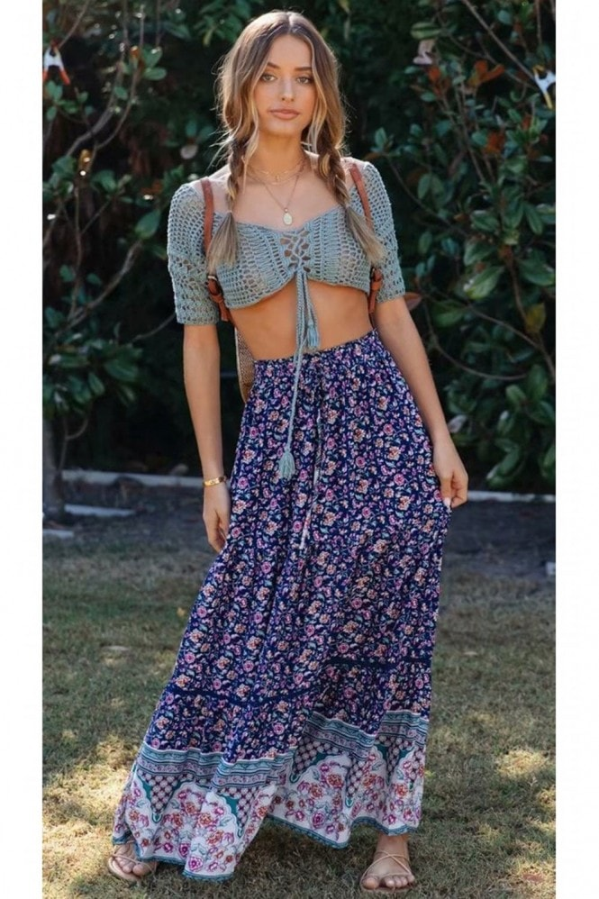 FS Collection Smocked Tiered Maxi Skirt In Navy & Pink Roses Floral Print