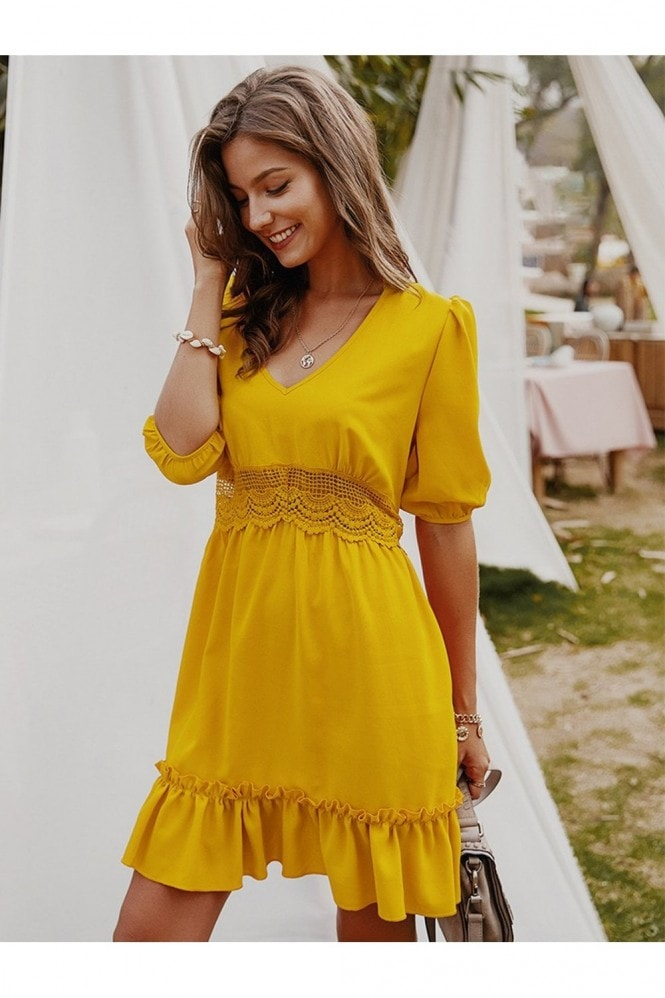 FS Collection Lace Detail Smock Dress In Yellow