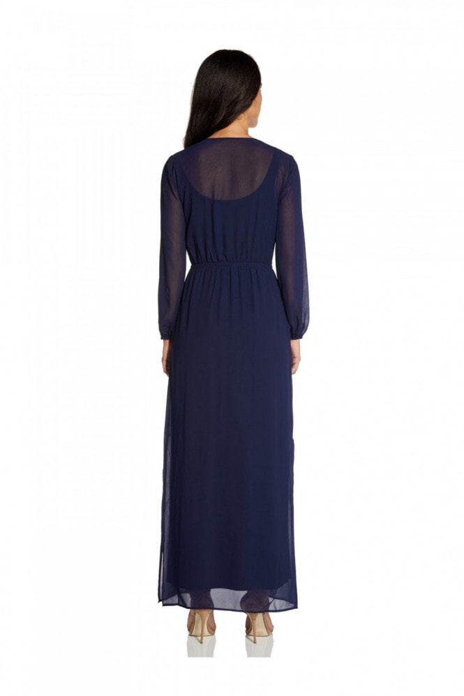 Adrianna Papell Chiffon And Jersey Maxi Dress In Navy