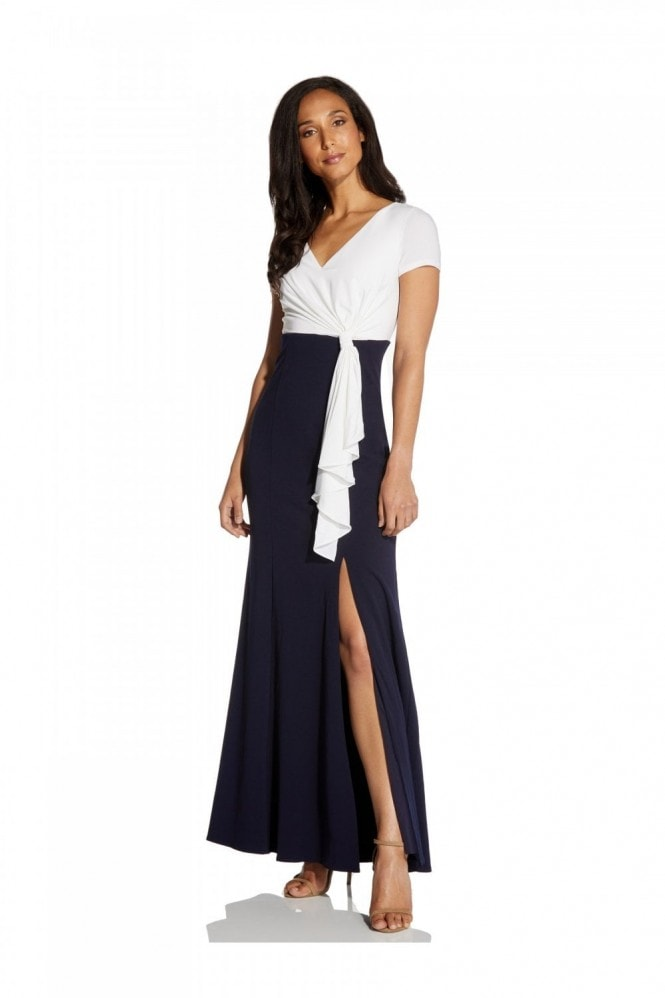 Adrianna Papell Color Blocked Crepe Gown In Ivory/Midnight