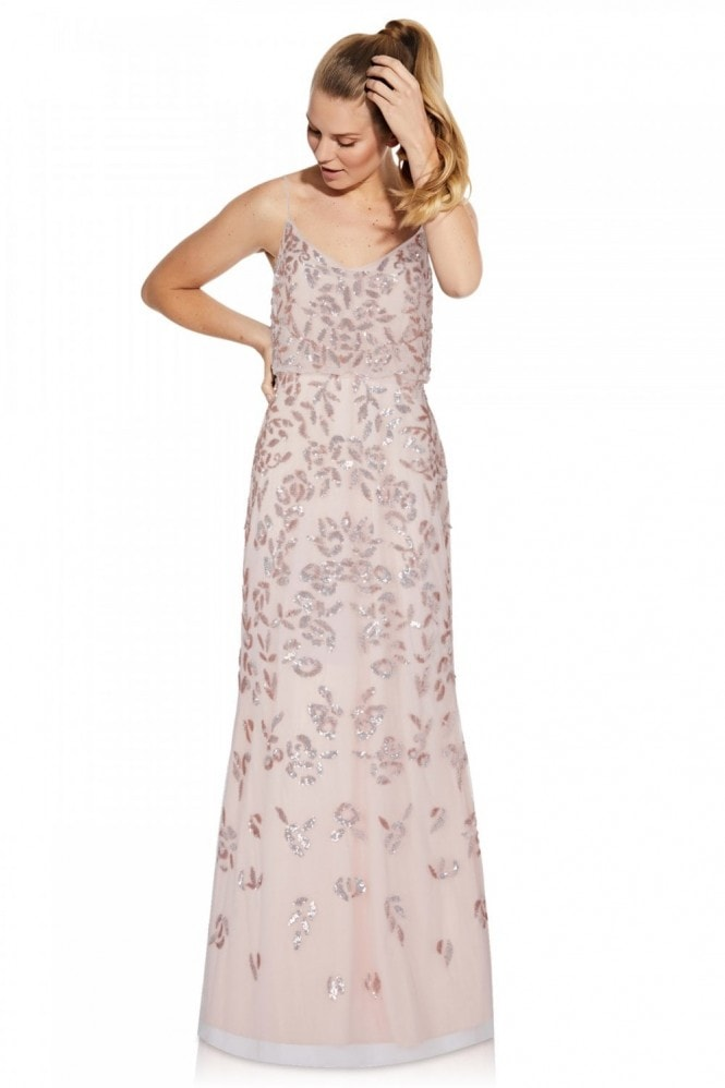 Adrianna Papell Beaded Blouson Gown In Flaxen