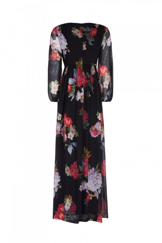 Adrianna Papell Floral Chiffon Gown In Black Multi