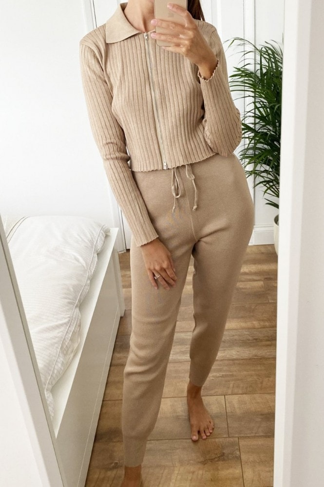 Little Mistress Taupe Ribbed Lounge Co-ord With Zip Collar Top