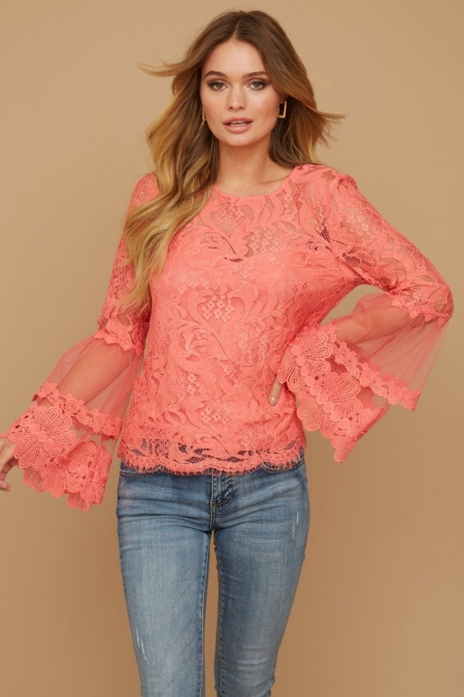 Girls on Film Levine Coral Fluted Sleeve Top