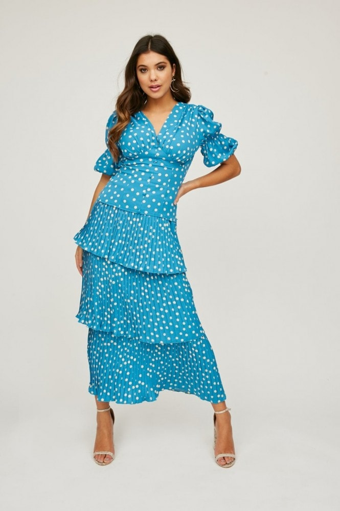 Girls on Film Pace Blue Polka-Dot Puff Sleeve Top Co-ord