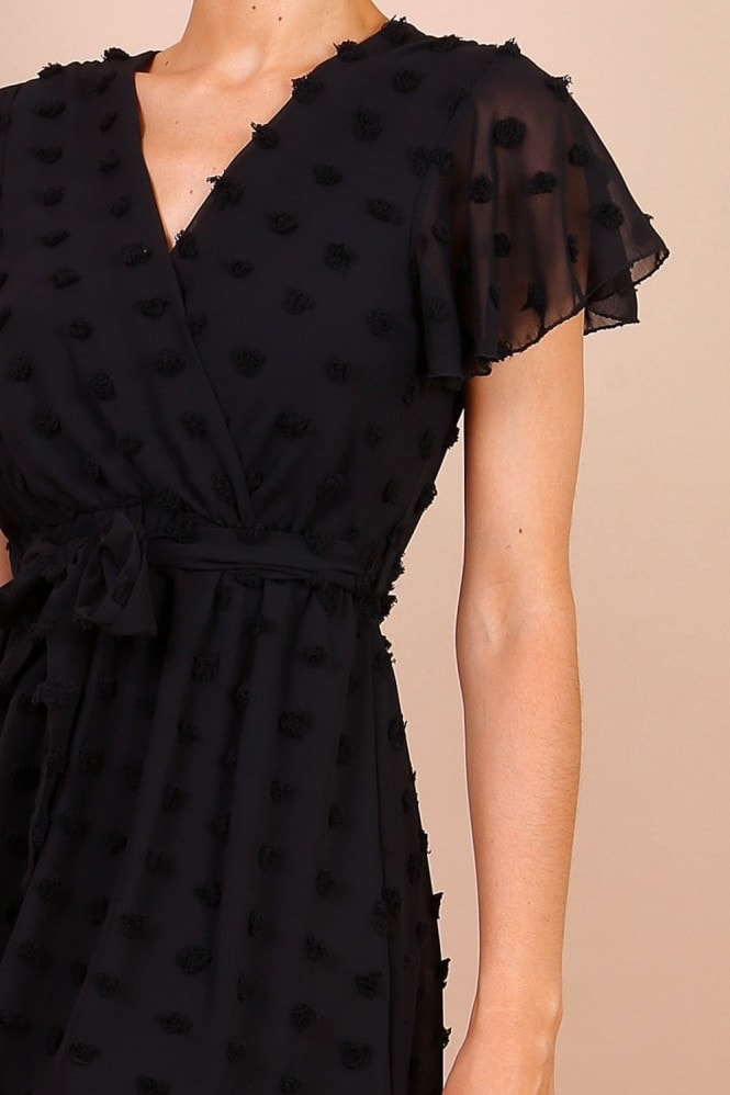 Lilura London Wrap Front Mini Dress With Textured Spot Detail In Black