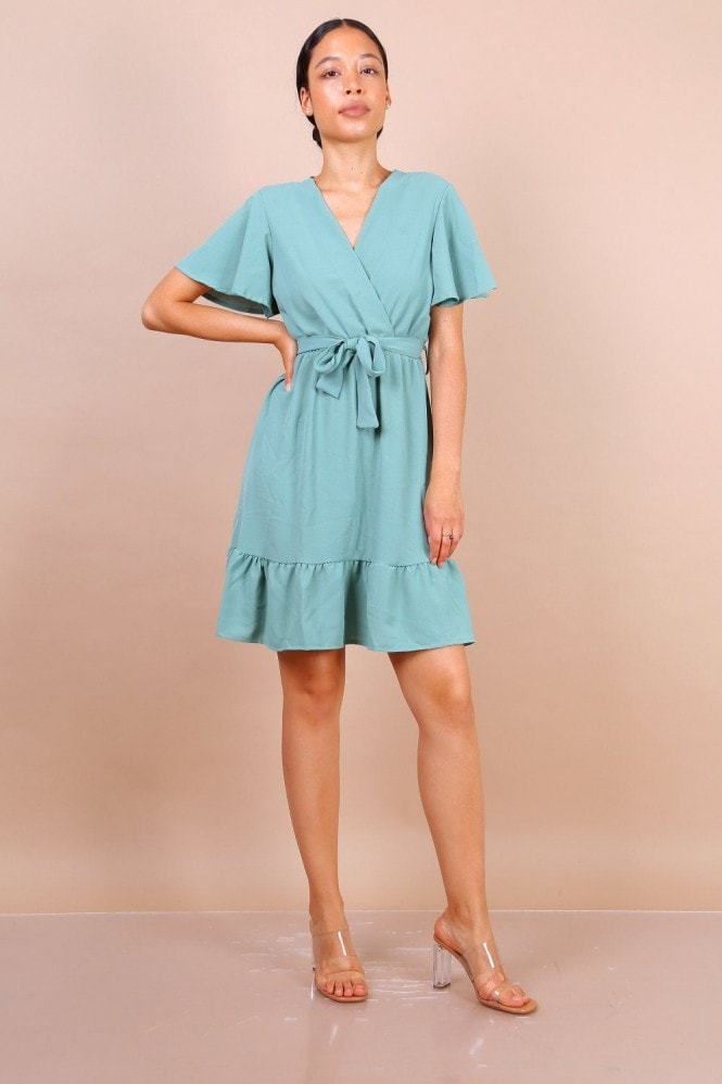 Lilura London Wrap Front Angel Sleeve Mini Dress In Mint Green