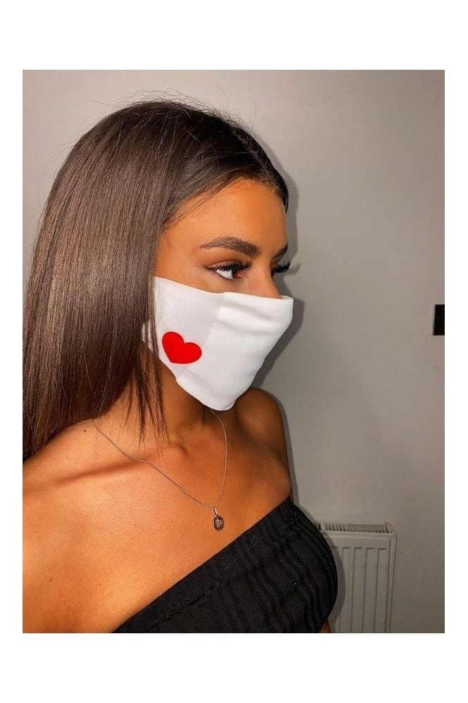 Little Mistress Personal Care Comfy Fit Face Mask For Adults In White With Red Heart -Pack of 20
