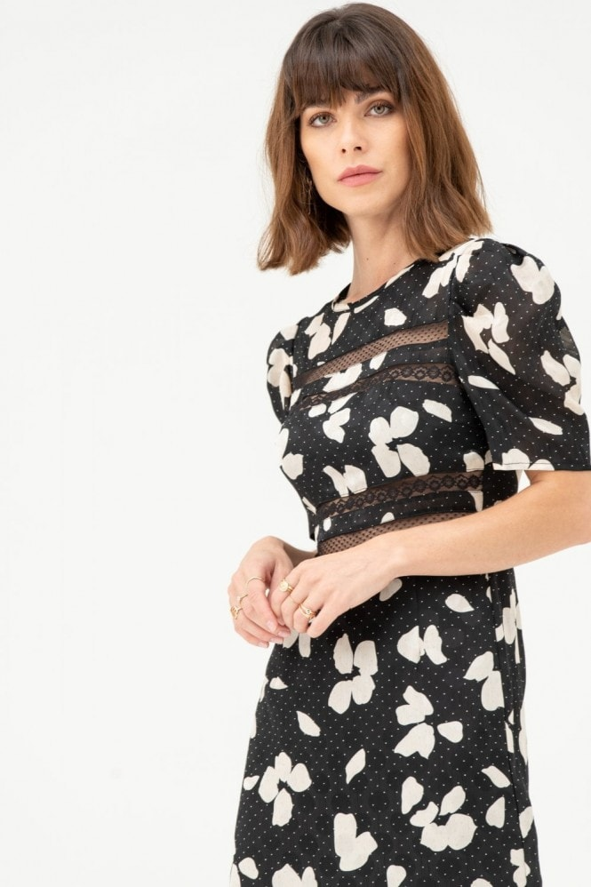 LIENA Midi Dress with Lace Inserts in Black White Floral Polka