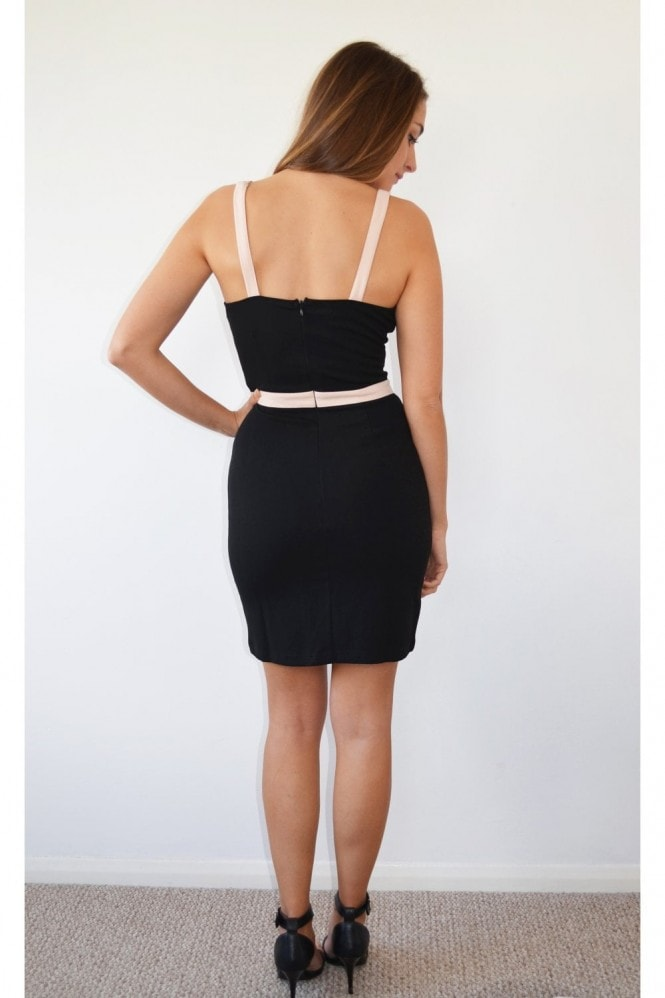 K Kloset Black Bodycon Illusion Mini Dress
