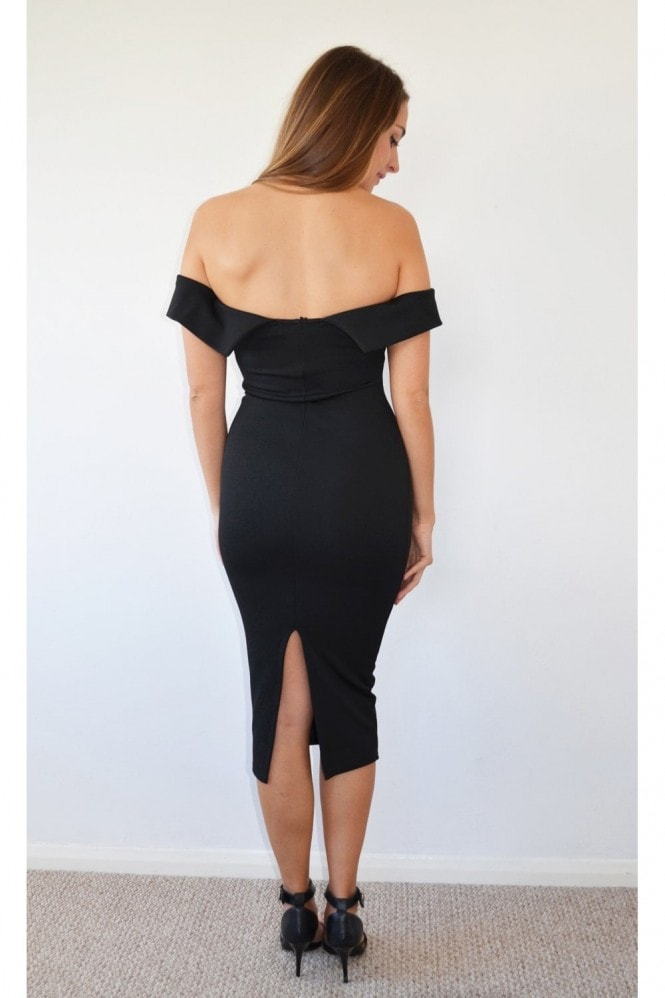 K Kloset Black Bardot Sweatheart Neck Midi Dress