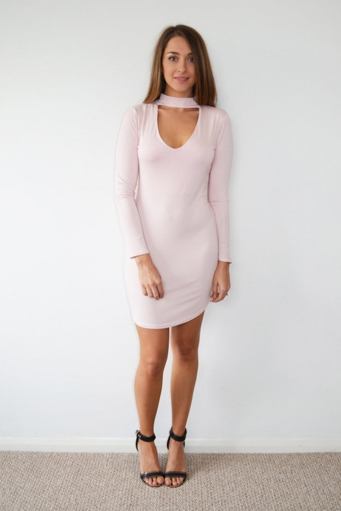 K Kloset Pink Choker Neck Long Sleeve Midi Dress
