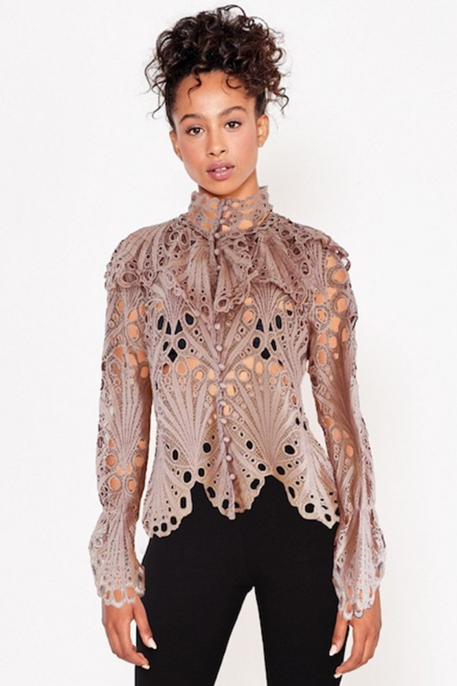 Dusty Pink Crochet Frill Shirt