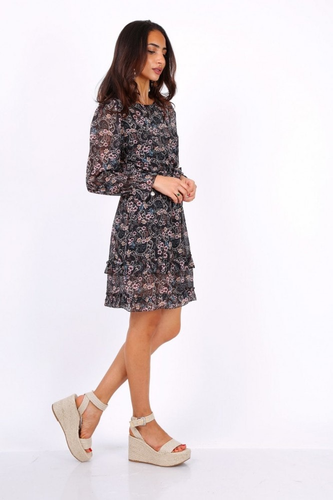 Lilura London Black Long Sleeve Mini Dress In Chiffon Paisley Print