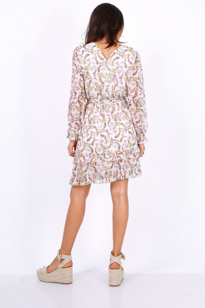 Lilura London White Long Sleeve Mini Dress In Chiffon Paisley Print
