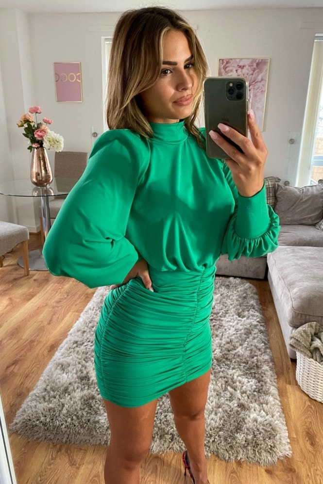 Little Mistress Green Ruched Mini Bodycon Dress