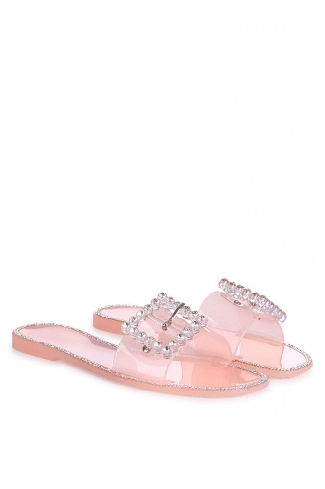 Linzi OBSESSED - Nude Slip On Slider With Large Buckle Detail and Diamante Trim